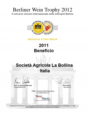MEDAGLIA D'ORO BERLIN al Berliner Wein Trophy 2012 - Beneficio 2011
