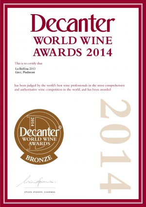 MEDAGLIA DI BRONZO DECANTER WORLD WINE AWARDS 2014 - GAVI 2013